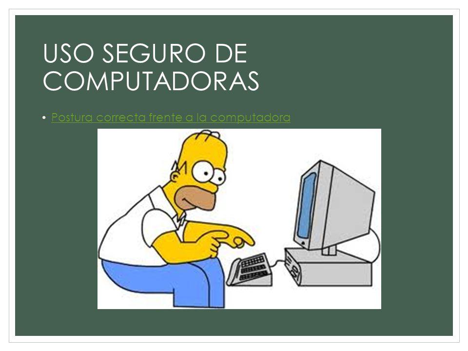 USO SEGURO DE COMPUTADORAS Postura correcta frente a la computadora