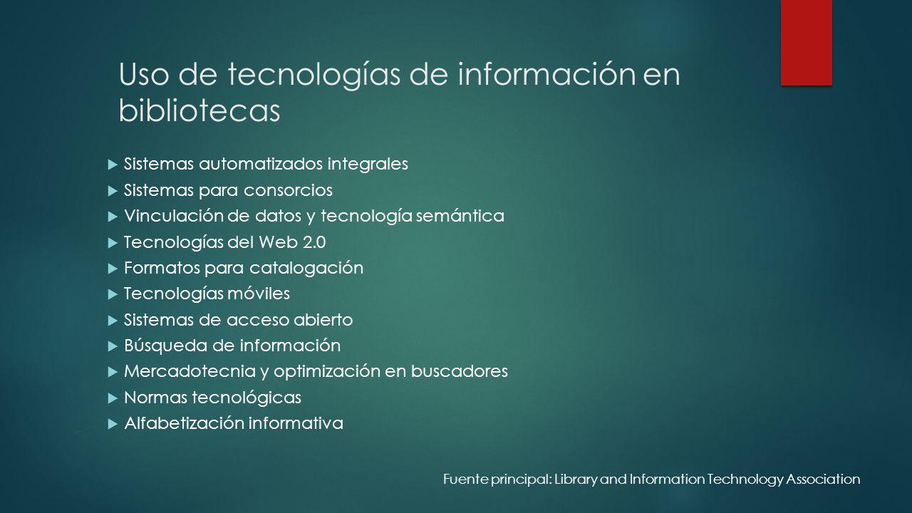 Uso de tecnologías de información en bibliotecas Sistemas automatizados integrales Sistemas para consorcios Vinculación de datos y tecnología semántic