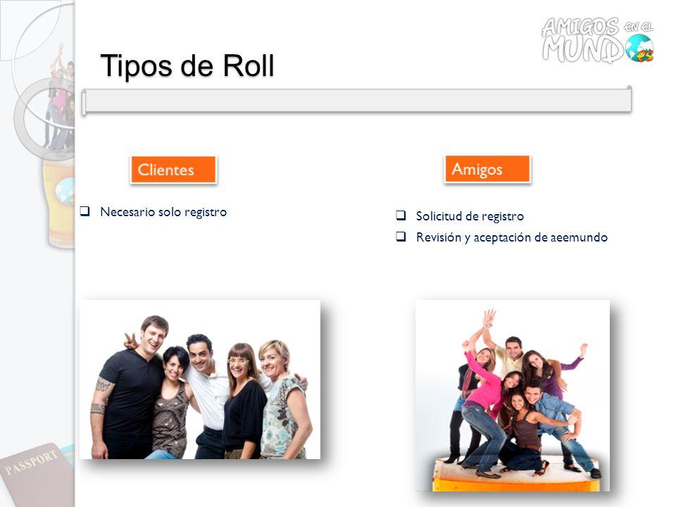 Tipos de Roll Necesario solo registro Solicitud de registro Revisión y aceptación de aeemundo
