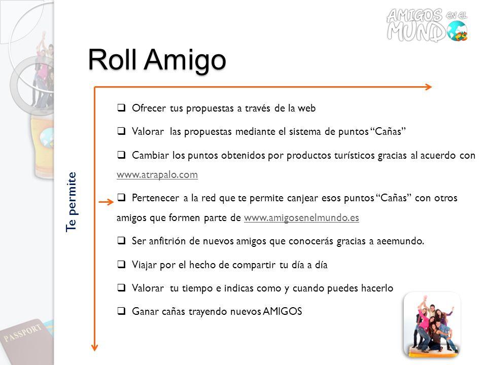 Roll Amigo Ofrecer tus propuestas a través de la web Valorar las propuestas mediante el sistema de puntos Cañas Cambiar los puntos obtenidos por produ