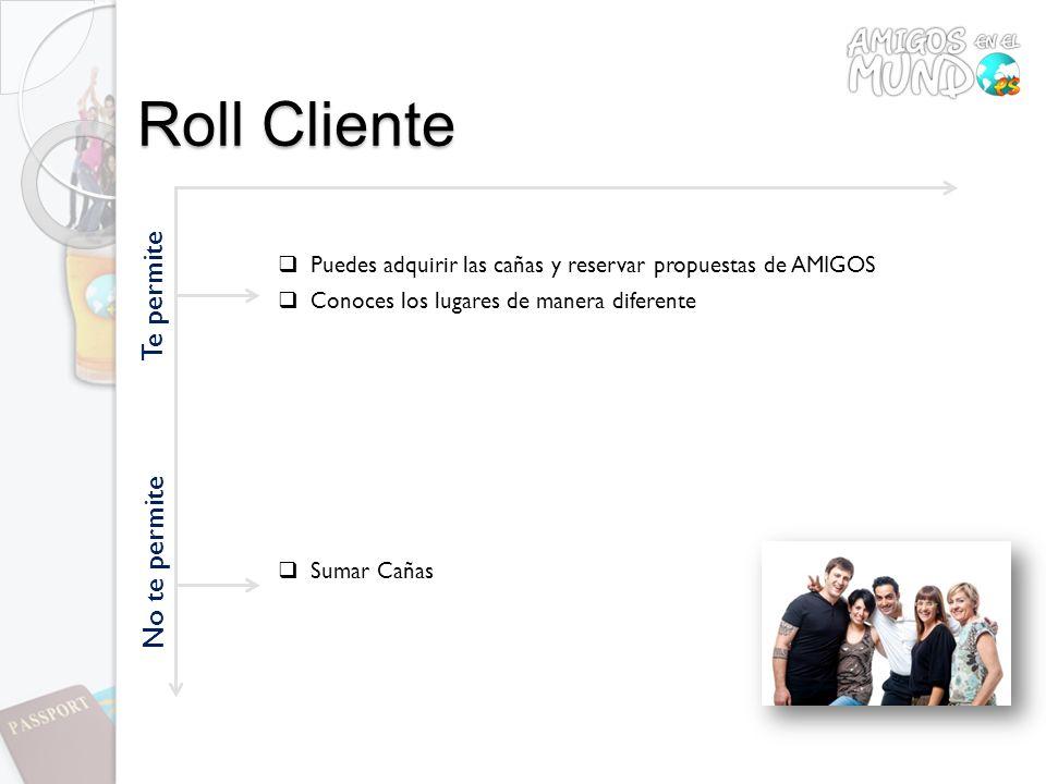 Roll Cliente Te permite Puedes adquirir las cañas y reservar propuestas de AMIGOS Conoces los lugares de manera diferente No te permite Sumar Cañas