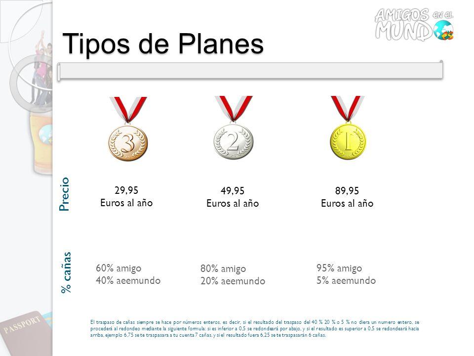 Tipos de Planes Precio 29,95 Euros al año 49,95 Euros al año 89,95 Euros al año 60% amigo 40% aeemundo 80% amigo 20% aeemundo 95% amigo 5% aeemundo El
