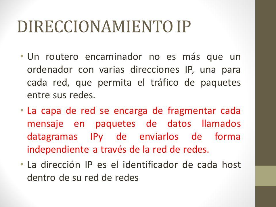 DIRECCIONAMIENTO IP Un routero encaminador no es más que un ordenador con varias direcciones IP, una para cada red, que permita el tráfico de paquetes