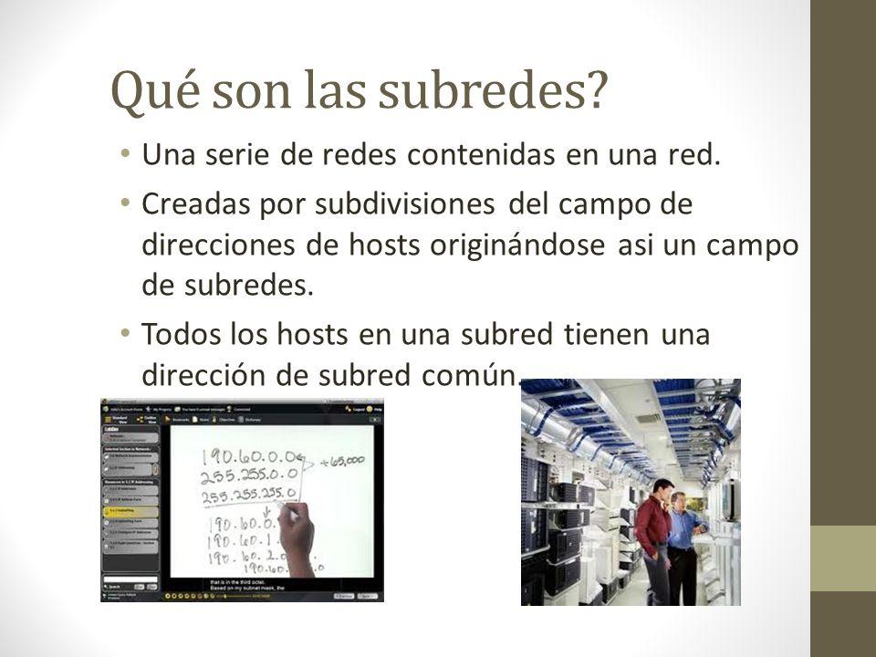 Qué son las subredes? Una serie de redes contenidas en una red. Creadas por subdivisiones del campo de direcciones de hosts originándose asi un campo