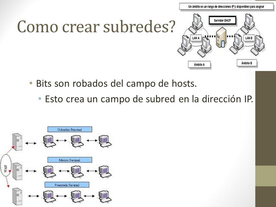 Como crear subredes? Bits son robados del campo de hosts. Esto crea un campo de subred en la dirección IP.