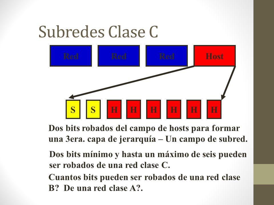 Subredes Clase C Red Host SHHHHHHS Dos bits robados del campo de hosts para formar una 3era. capa de jerarquía – Un campo de subred. Dos bits mínimo y