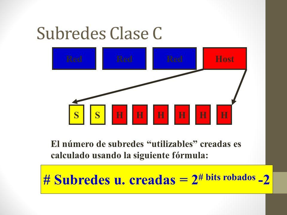 Subredes Clase C Red Host SHHHHHHS El número de subredes utilizables creadas es calculado usando la siguiente fórmula: # Subredes u. creadas = 2 # bit