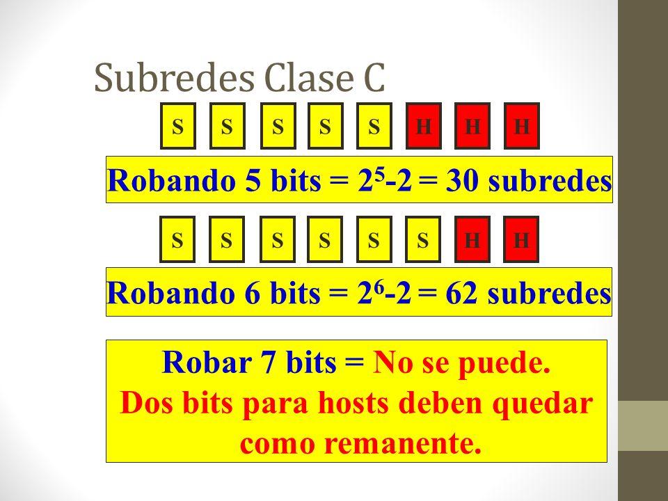 Subredes Clase C SSSSHHHS Robando 5 bits = 2 5 -2 = 30 subredes Robar 7 bits = No se puede. Dos bits para hosts deben quedar como remanente. SSSSSHHS