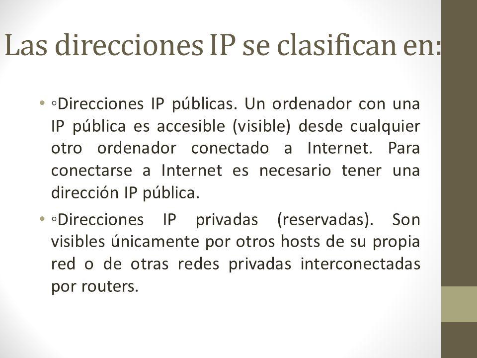 Las direcciones IP se clasifican en: Direcciones IP públicas. Un ordenador con una IP pública es accesible (visible) desde cualquier otro ordenador co