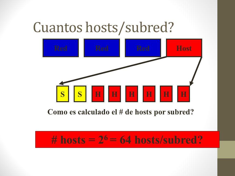 Cuantos hosts/subred? Red Host SHHHHHHS Como es calculado el # de hosts por subred? # hosts = 2 6 = 64 hosts/subred?