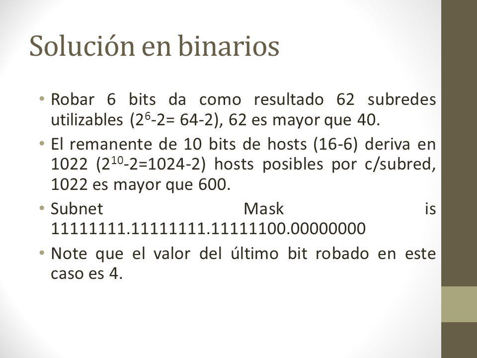 Solución en binarios Robar 6 bits da como resultado 62 subredes utilizables (2 6 -2= 64-2), 62 es mayor que 40. El remanente de 10 bits de hosts (16-6