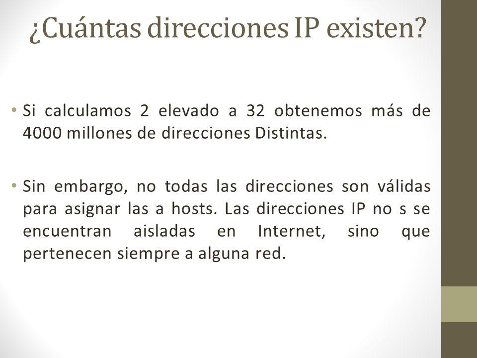 ¿Cuántas direcciones IP existen? Si calculamos 2 elevado a 32 obtenemos más de 4000 millones de direcciones Distintas. Sin embargo, no todas las direc