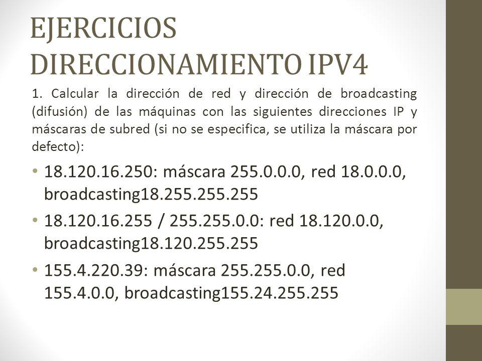 EJERCICIOS DIRECCIONAMIENTO IPV4 1. Calcular la dirección de red y dirección de broadcasting (difusión) de las máquinas con las siguientes direcciones