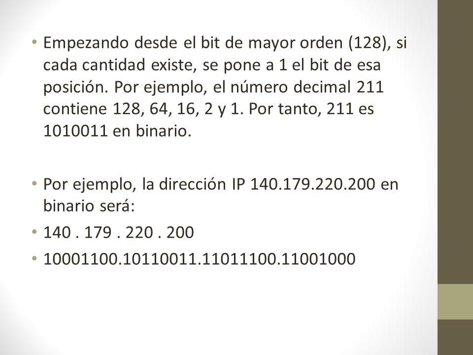 Empezando desde el bit de mayor orden (128), si cada cantidad existe, se pone a 1 el bit de esa posición. Por ejemplo, el número decimal 211 contiene