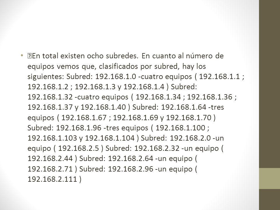 En total existen ocho subredes. En cuanto al número de equipos vemos que, clasificados por subred, hay los siguientes: Subred: 192.168.1.0 -cuatro equ