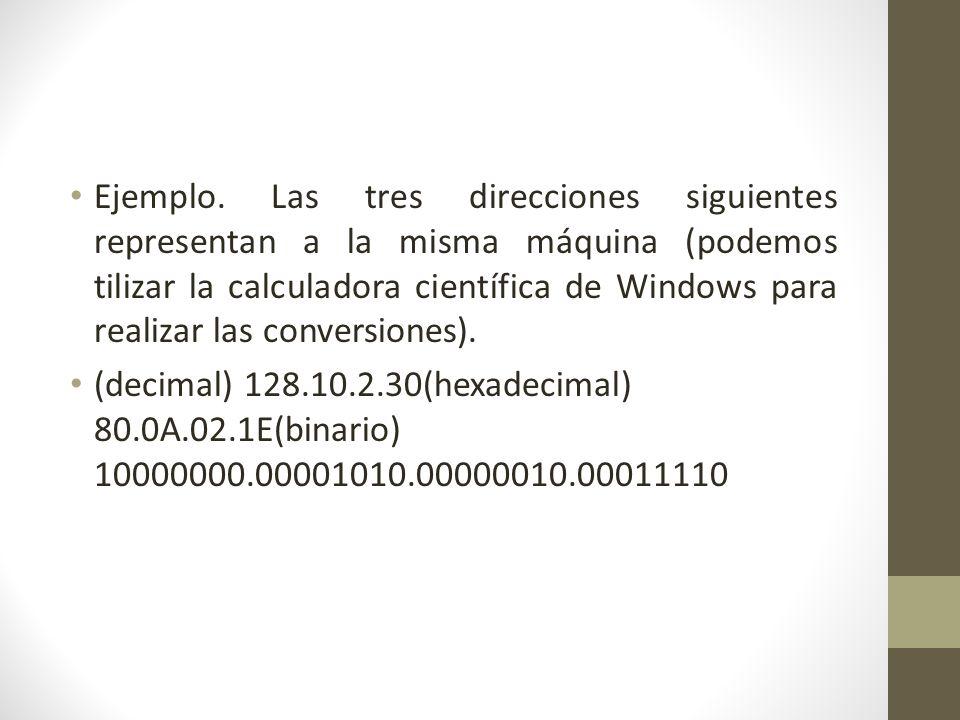 Ejemplo. Las tres direcciones siguientes representan a la misma máquina (podemos tilizar la calculadora científica de Windows para realizar las conver