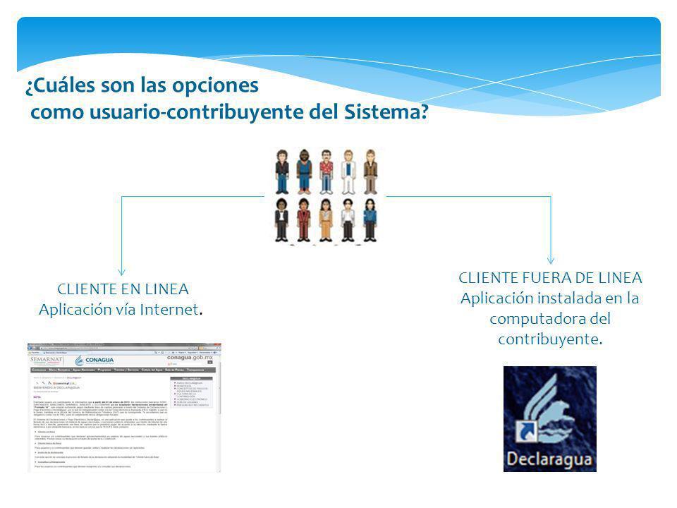 ¿Cuáles son las opciones como usuario-contribuyente del Sistema? CLIENTE EN LINEA Aplicación vía Internet. CLIENTE FUERA DE LINEA Aplicación instalada