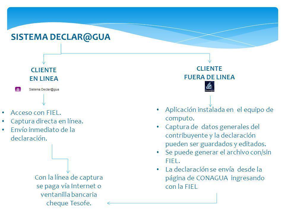 SISTEMA DECLAR@GUA CLIENTE EN LINEA CLIENTE FUERA DE LINEA Acceso con FIEL. Captura directa en línea. Envío inmediato de la declaración. Aplicación in