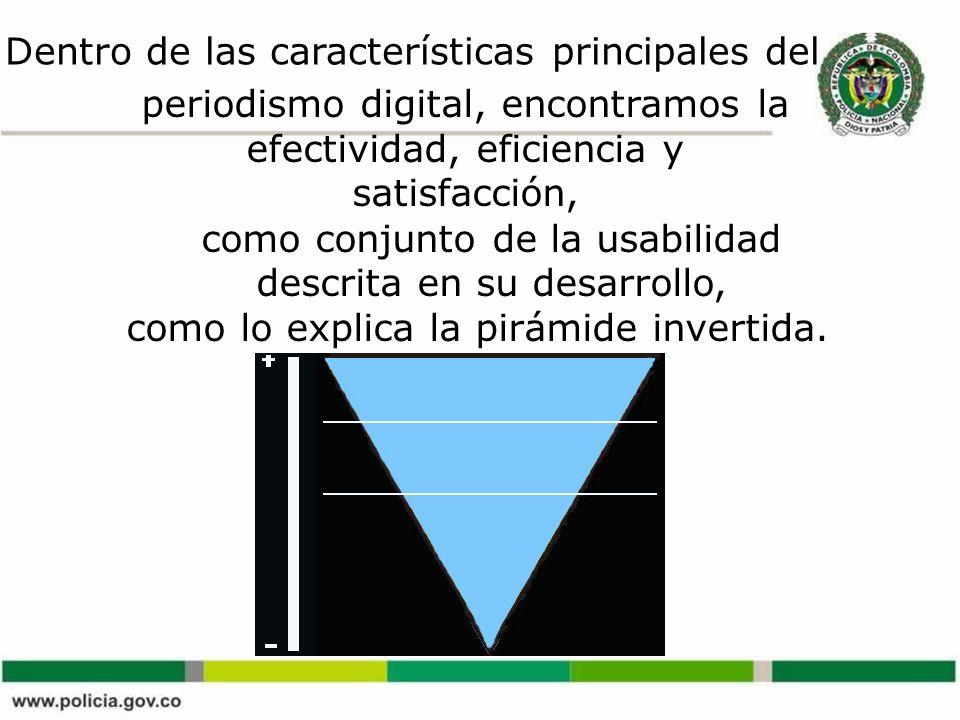 Dentro de las características principales del periodismo digital, encontramos la efectividad, eficiencia y satisfacción, como conjunto de la usabilidad descrita en su desarrollo, como lo explica la pirámide invertida.