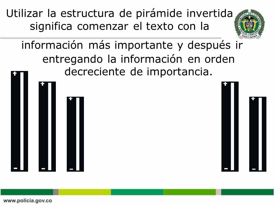 Utilizar la estructura de pirámide invertida significa comenzar el texto con la información más importante y después ir entregando la información en orden decreciente de importancia.