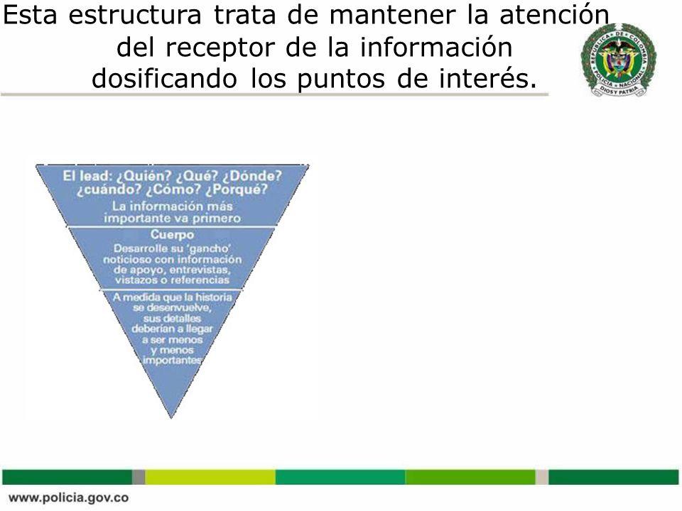 Esta estructura trata de mantener la atención del receptor de la información dosificando los puntos de interés.