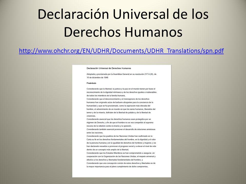 Declaración Universal de los Derechos Humanos http://www.ohchr.org/EN/UDHR/Documents/UDHR_Translations/spn.pdf