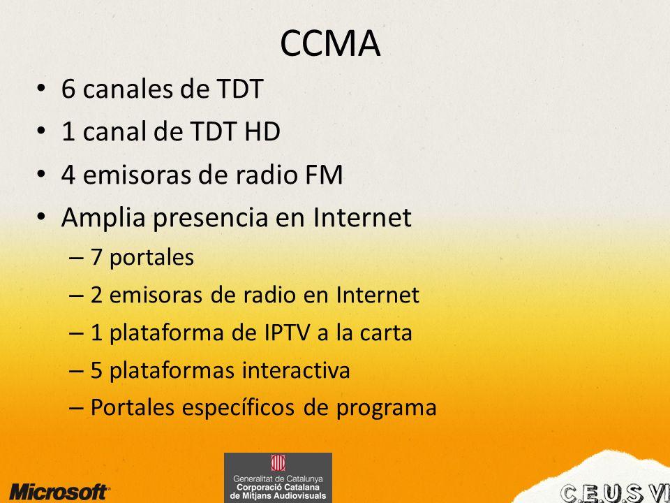 CCMA 6 canales de TDT 1 canal de TDT HD 4 emisoras de radio FM Amplia presencia en Internet – 7 portales – 2 emisoras de radio en Internet – 1 platafo