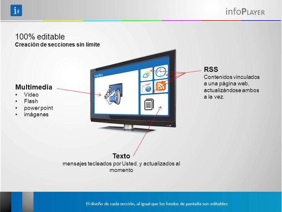 infoP LAYER 100% editable Creación de secciones sin límite Multimedia Video Flash power point imágenes RSS Contenidos vinculados a una página web, actualizándose ambos a la vez.