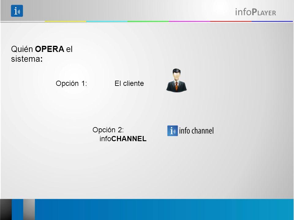 infoP LAYER Opción 1: El cliente Quién OPERA el sistema: Opción 2: infoCHANNEL