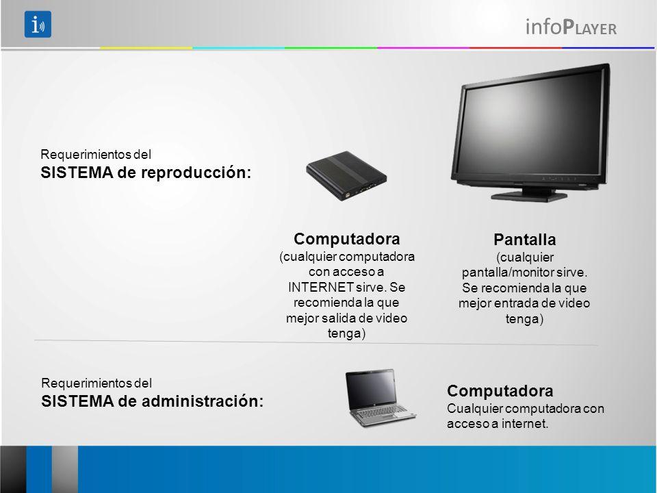 infoP LAYER Computadora (cualquier computadora con acceso a INTERNET sirve. Se recomienda la que mejor salida de video tenga) Requerimientos del SISTE