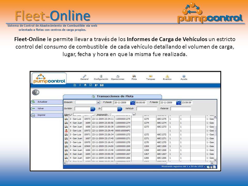 Fleet-Online Sistema de Control de Abastecimiento de Combustible vía web orientado a flotas con centros de carga propios. Fleet-Online le permite llev