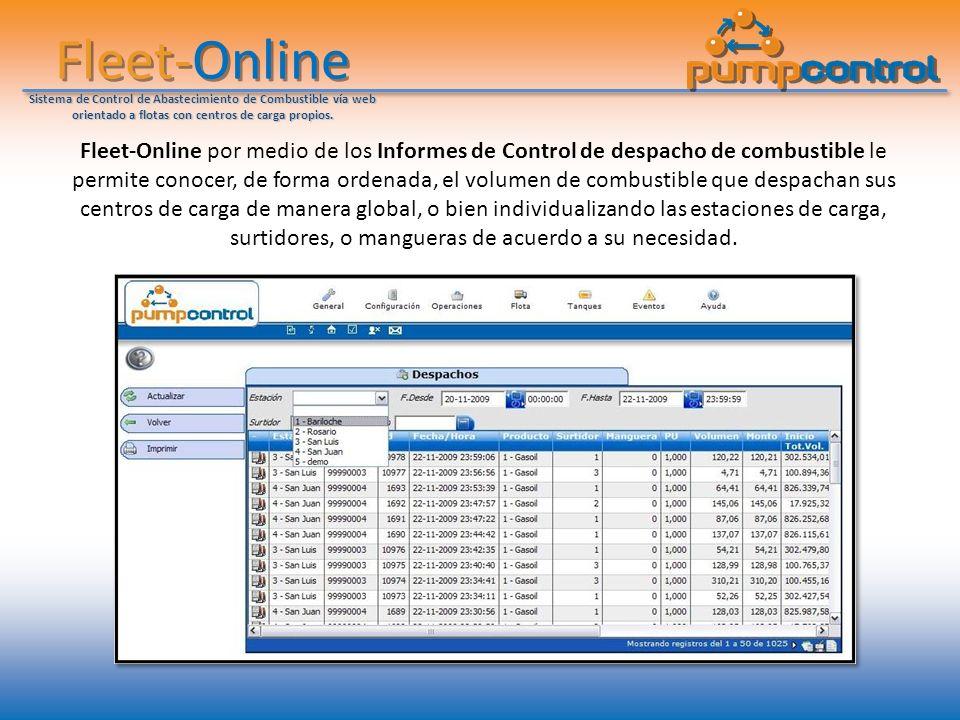 Fleet-Online Sistema de Control de Abastecimiento de Combustible vía web orientado a flotas con centros de carga propios. Fleet-Online por medio de lo