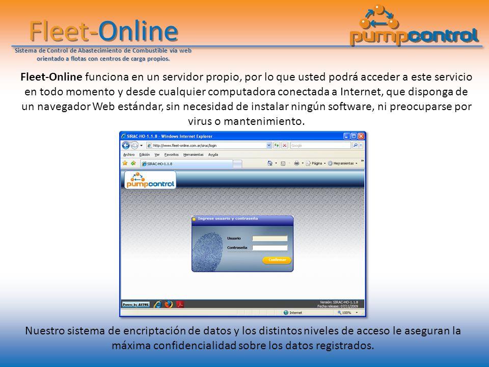 Fleet-Online Sistema de Control de Abastecimiento de Combustible vía web orientado a flotas con centros de carga propios. Fleet-Online funciona en un
