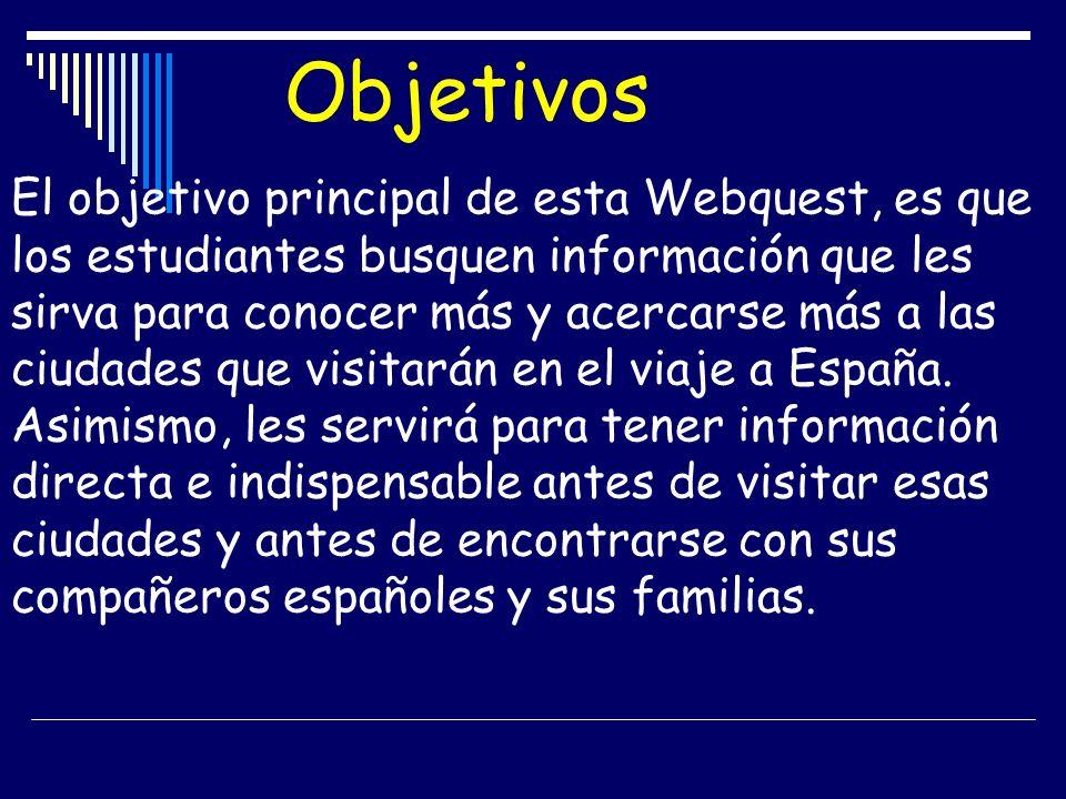 Objetivos El objetivo principal de esta Webquest, es que los estudiantes busquen información que les sirva para conocer más y acercarse más a las ciud