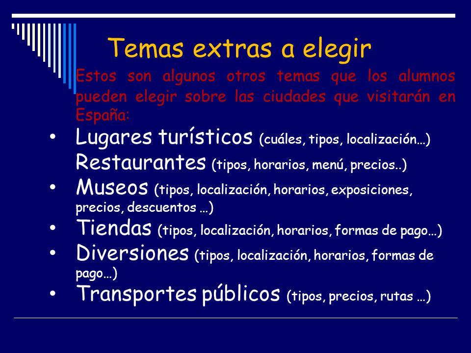 Temas extras a elegir Estos son algunos otros temas que los alumnos pueden elegir sobre las ciudades que visitarán en España: Lugares turísticos (cuál