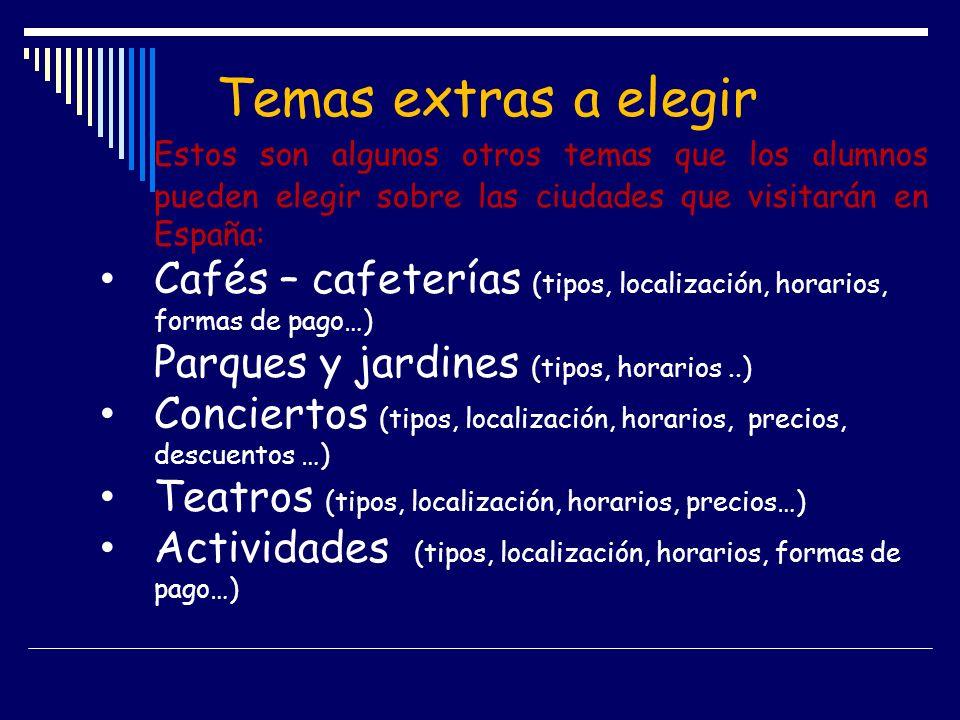 Temas extras a elegir Estos son algunos otros temas que los alumnos pueden elegir sobre las ciudades que visitarán en España: Cafés – cafeterías (tipo