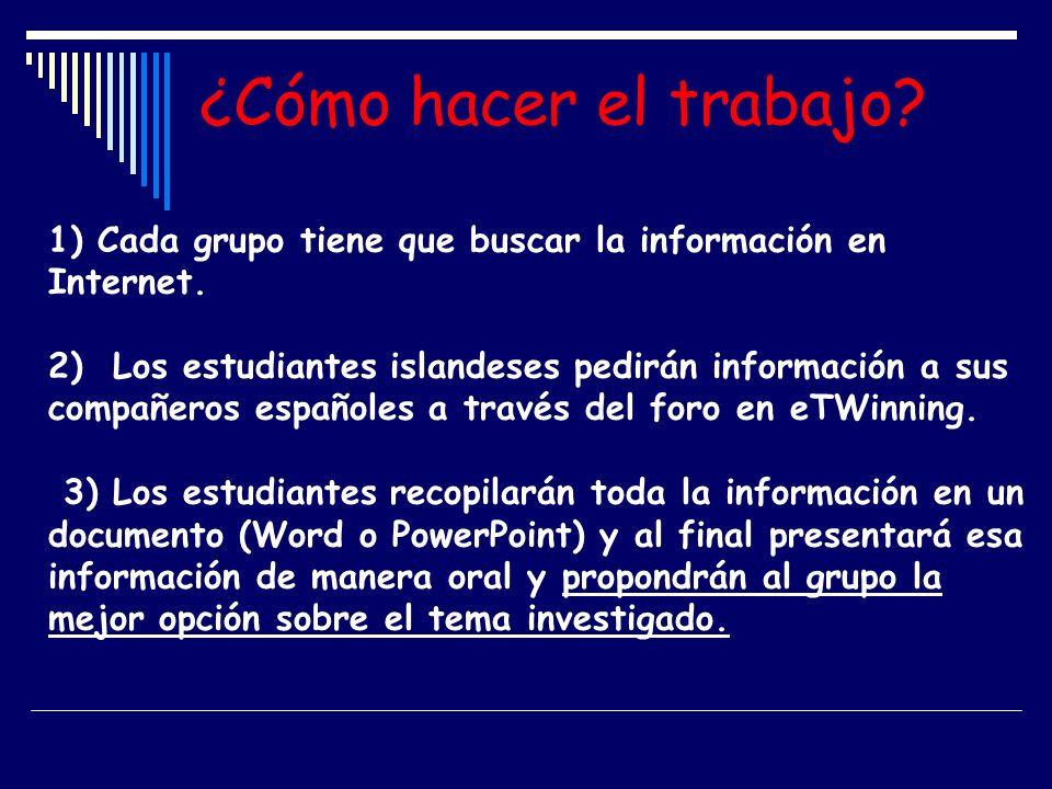 ¿Cómo hacer el trabajo? 1) Cada grupo tiene que buscar la información en Internet. 2) Los estudiantes islandeses pedirán información a sus compañeros