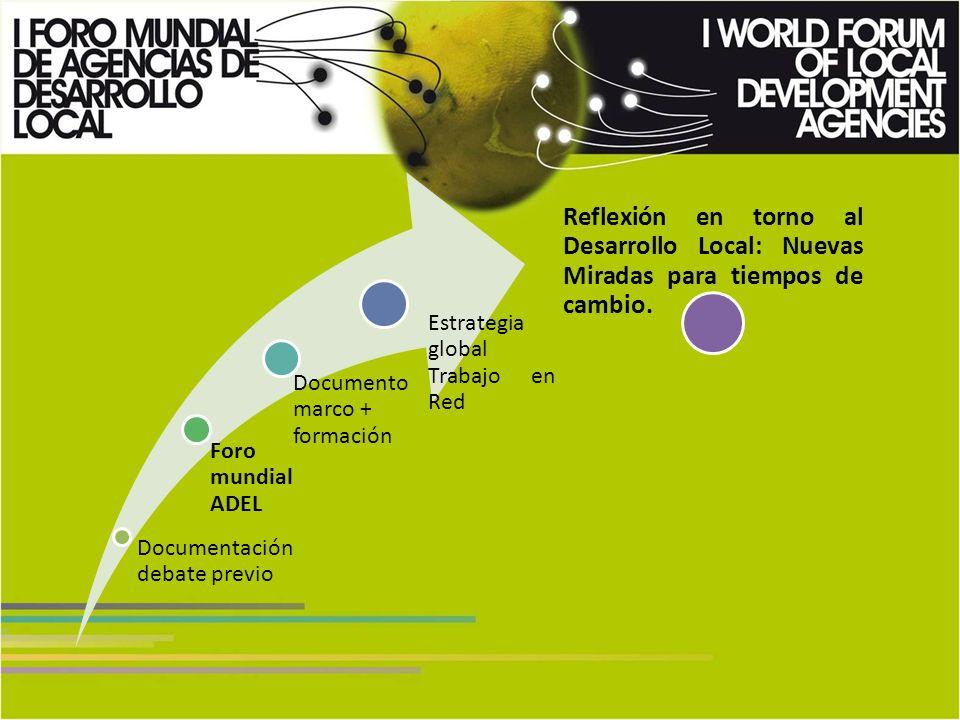Documentación debate previo Foro mundial ADEL Documento marco + formación Estrategia global Trabajo en Red Reflexión en torno al Desarrollo Local: Nuevas Miradas para tiempos de cambio.