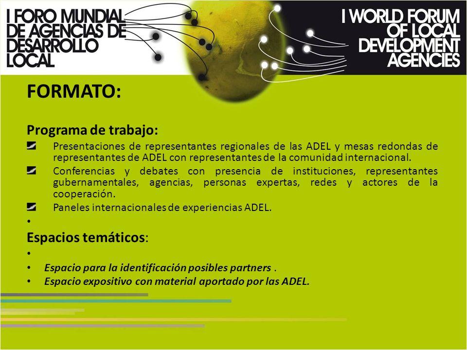 FORMATO: Programa de trabajo: Presentaciones de representantes regionales de las ADEL y mesas redondas de representantes de ADEL con representantes de la comunidad internacional.