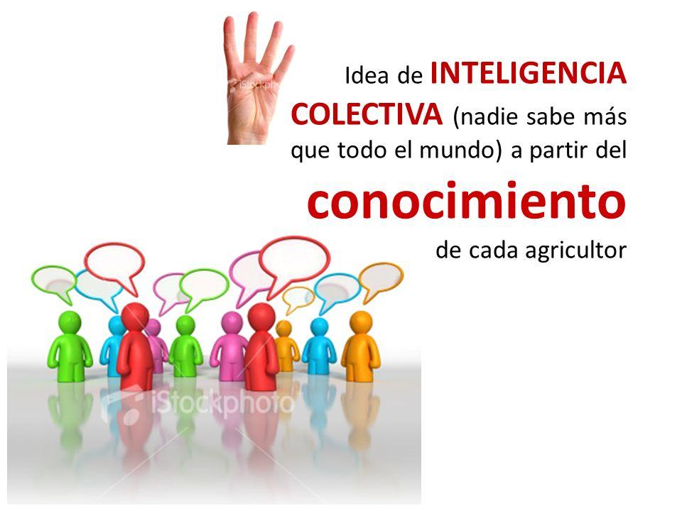 Idea de INTELIGENCIA COLECTIVA (nadie sabe más que todo el mundo) a partir del conocimiento de cada agricultor