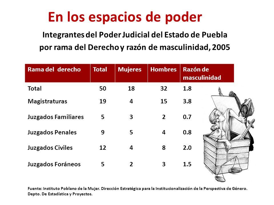Integrantes del Poder Judicial del Estado de Puebla por rama del Derecho y razón de masculinidad, 2005 Rama del derechoTotalMujeresHombresRazón de masculinidad Total5018321.8 Magistraturas194153.8 Juzgados Familiares5320.7 Juzgados Penales9540.8 Juzgados Civiles12482.0 Juzgados Foráneos5231.5 Fuente: Instituto Poblano de la Mujer.