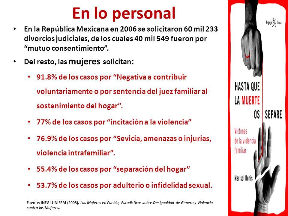En la República Mexicana en 2006 se solicitaron 60 mil 233 divorcios judiciales, de los cuales 40 mil 549 fueron por mutuo consentimiento.
