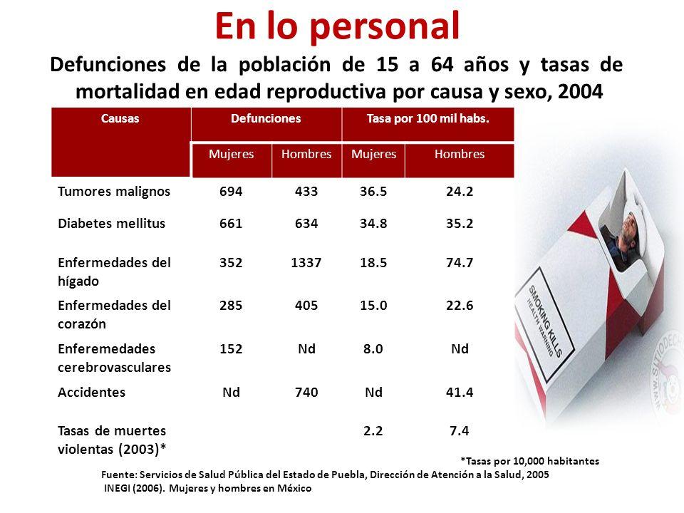 Defunciones de la población de 15 a 64 años y tasas de mortalidad en edad reproductiva por causa y sexo, 2004 CausasDefuncionesTasa por 100 mil habs.
