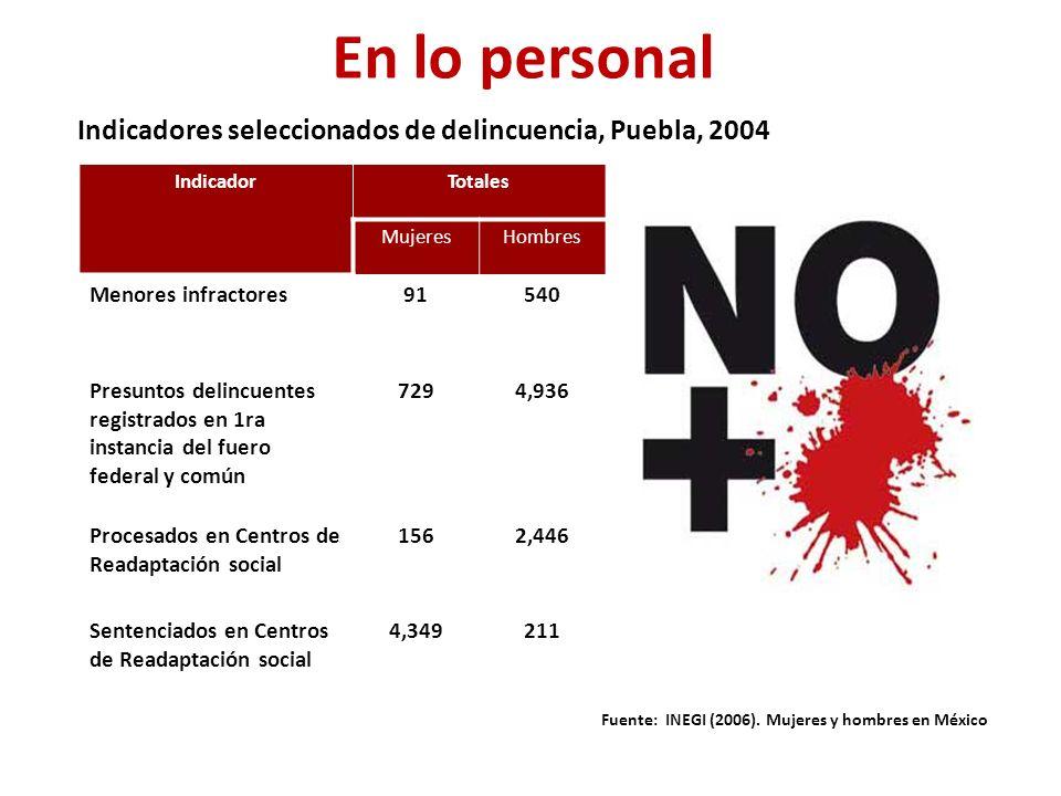 IndicadorTotales MujeresHombres Menores infractores91540 Presuntos delincuentes registrados en 1ra instancia del fuero federal y común 7294,936 Procesados en Centros de Readaptación social 1562,446 Sentenciados en Centros de Readaptación social 4,349211 Indicadores seleccionados de delincuencia, Puebla, 2004 Fuente: INEGI (2006).