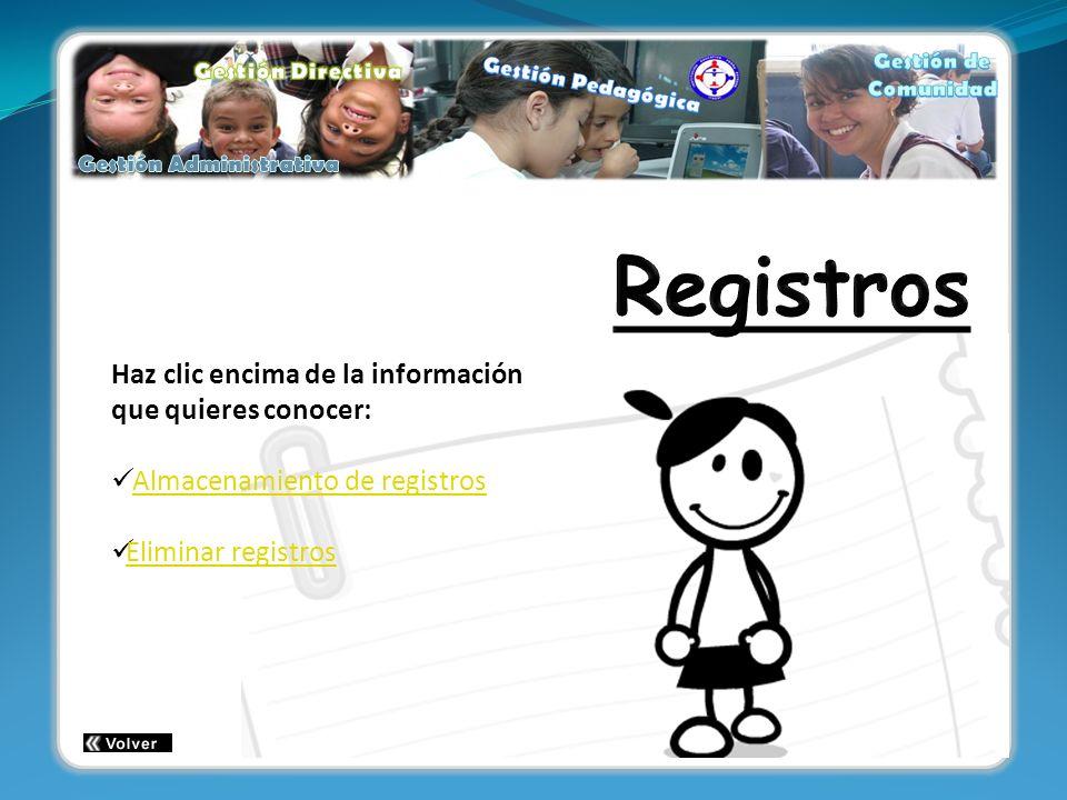 Haz clic encima de la información que quieres conocer: Almacenamiento de registros Eliminar registros