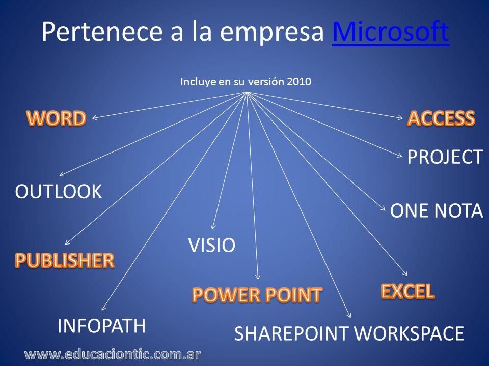 Pertenece a la empresa MicrosoftMicrosoft Incluye en su versión 2010 PROJECT OUTLOOK ONE NOTA VISIO INFOPATH SHAREPOINT WORKSPACE