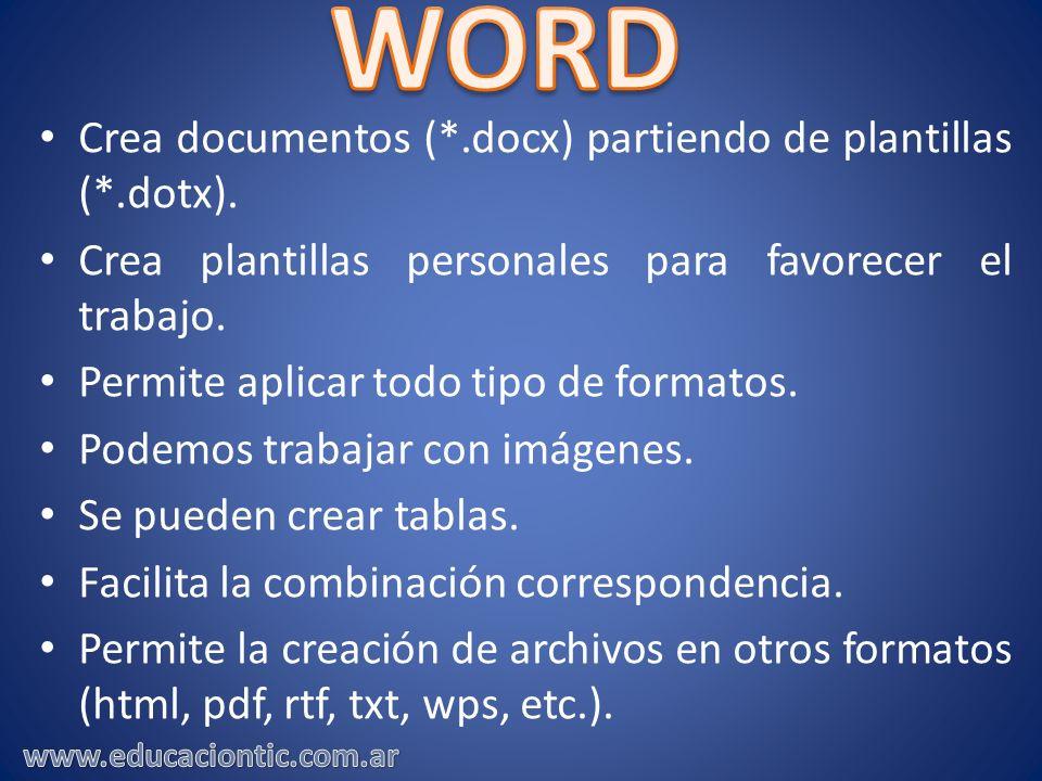 Crea documentos (*.docx) partiendo de plantillas (*.dotx). Crea plantillas personales para favorecer el trabajo. Permite aplicar todo tipo de formatos