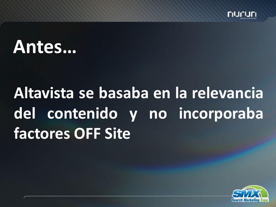 3 Altavista se basaba en la relevancia del contenido y no incorporaba factores OFF Site Antes…