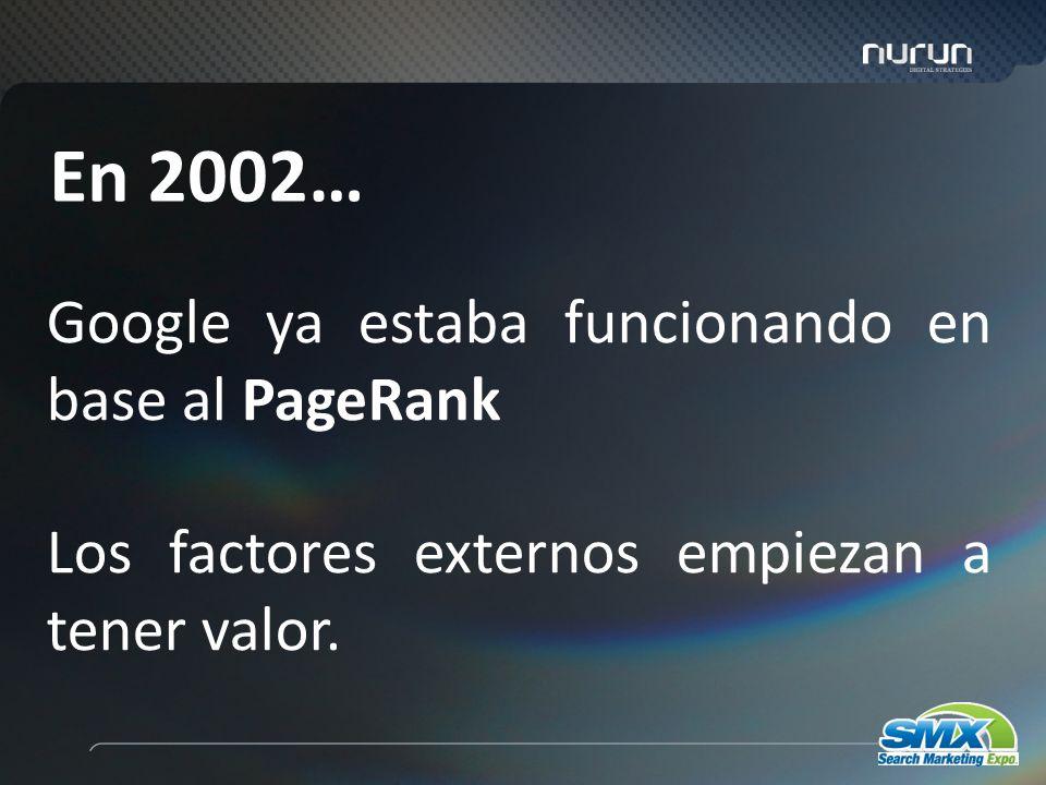 4 Google ya estaba funcionando en base al PageRank Los factores externos empiezan a tener valor.