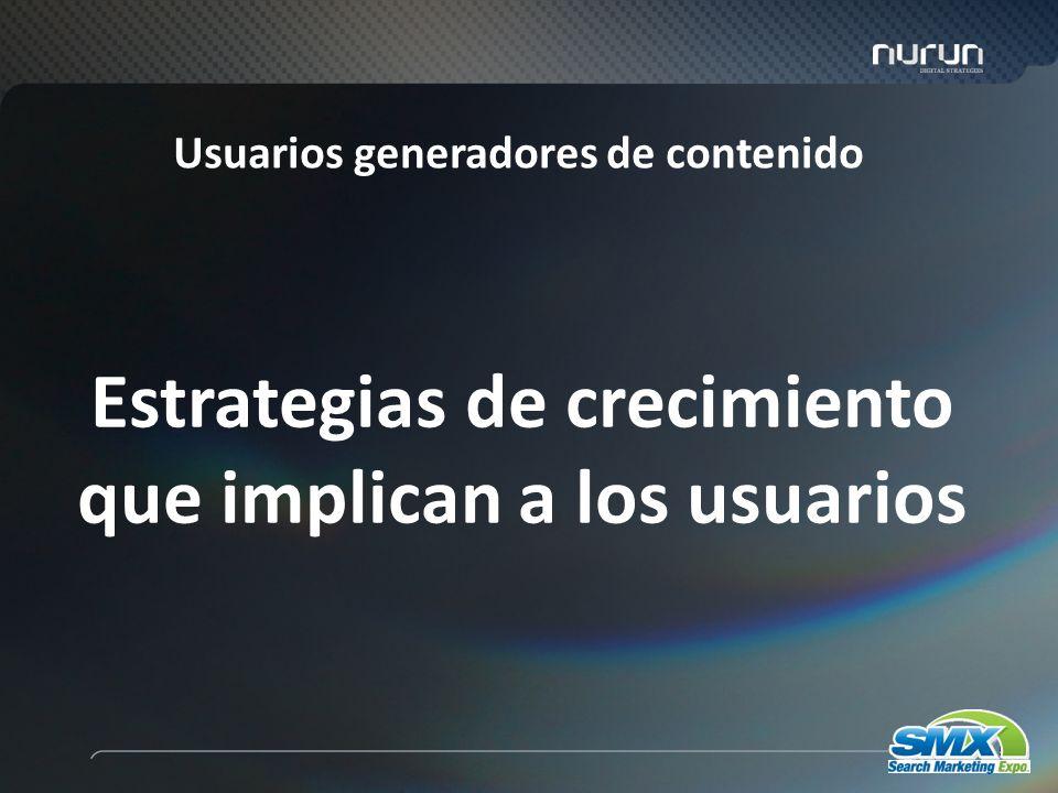 56 Estrategias de crecimiento que implican a los usuarios Usuarios generadores de contenido